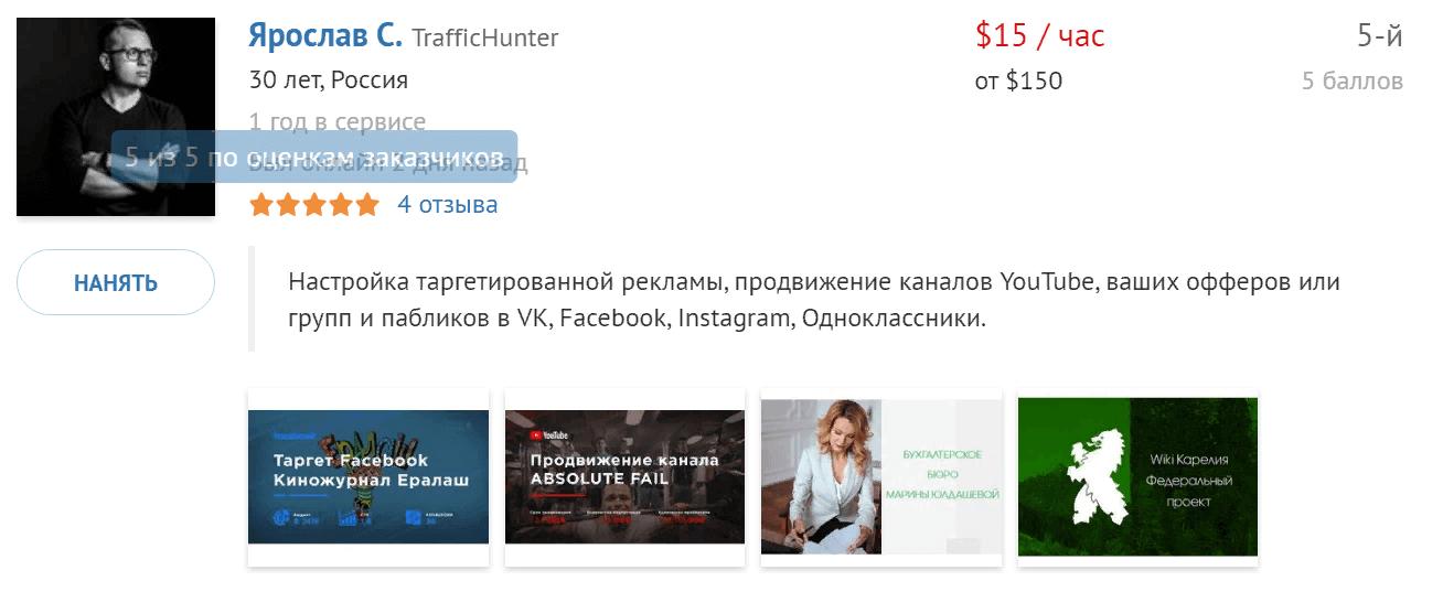 портфолио фрилансера по настройке таргетированной рекламы