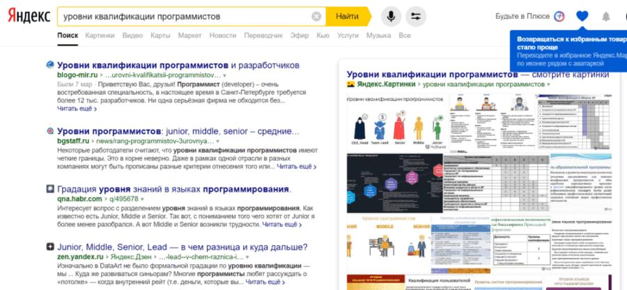 Первая страница выдачи Яндекса