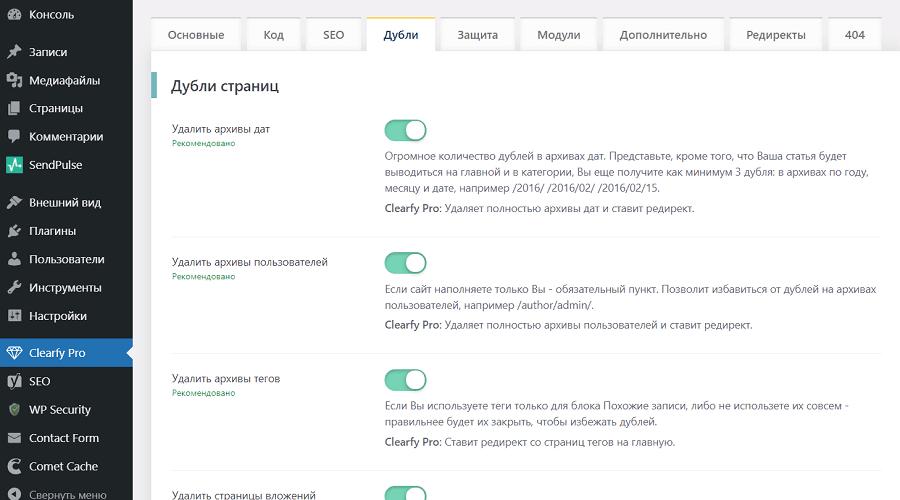 возможности плагина Clearfy Pro для seo