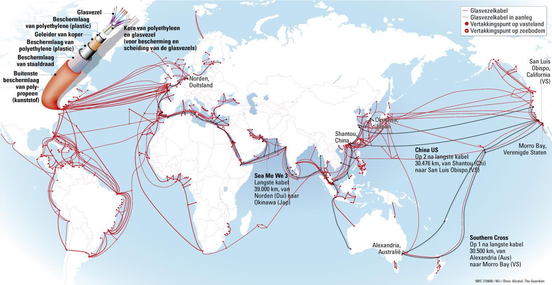 Карта укладки интернет-кабелей межконтенентальная